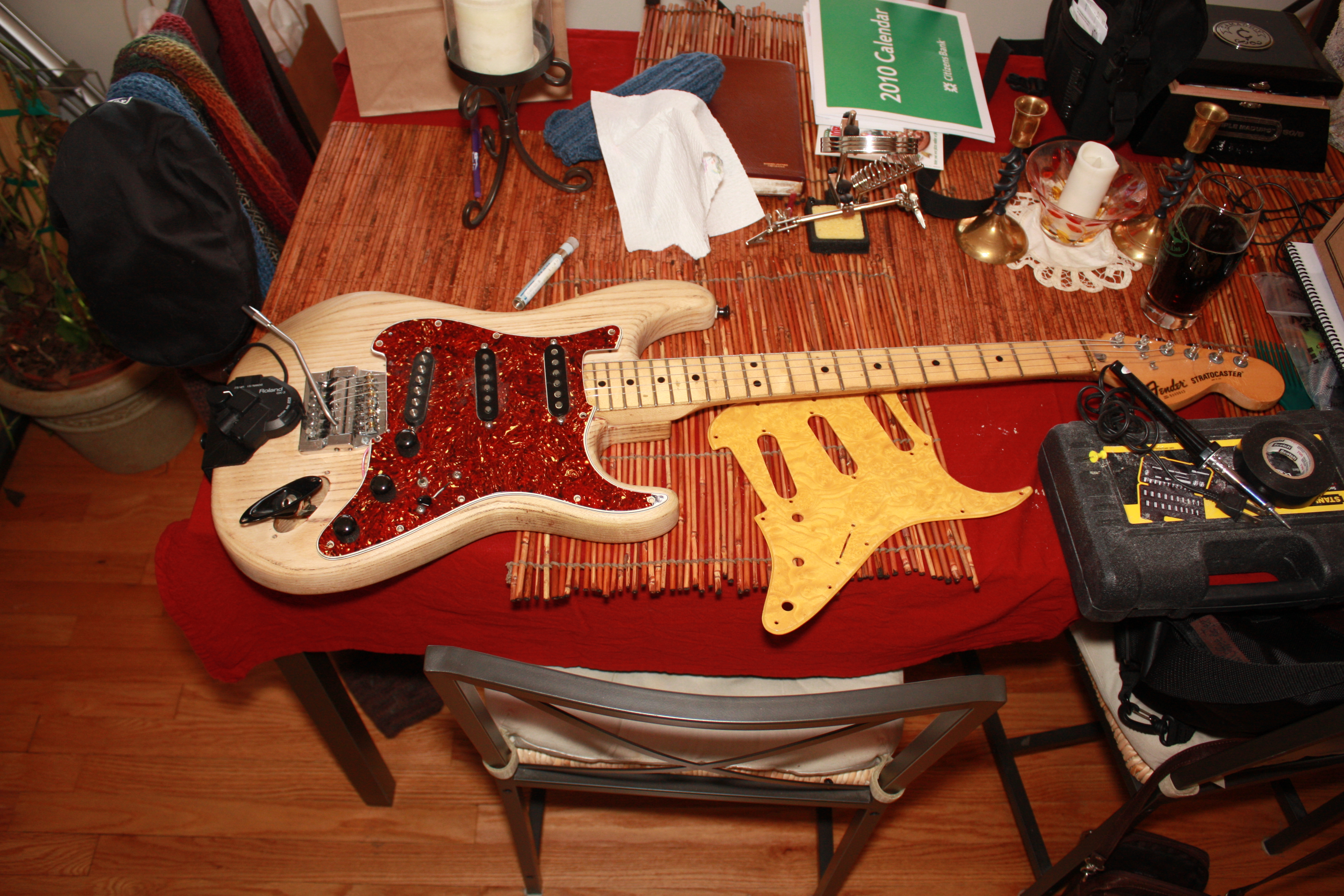 73 Fender Strat New Pickgard Wiring Volume And Tone Pots Victor Electric Guitar This