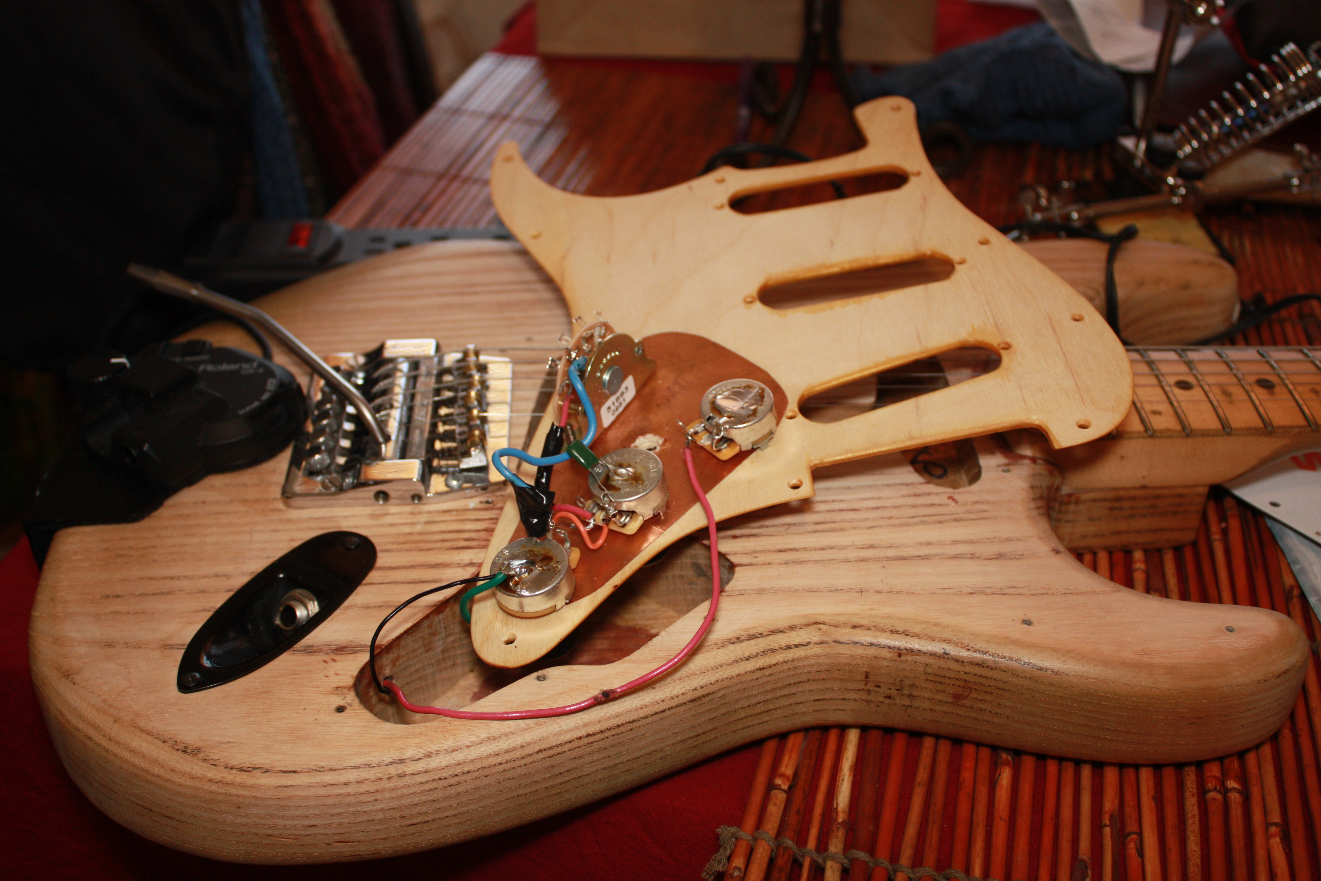 73 Fender Strat New Pickgard Wiring Volume And Tone Pots Victor Electric Guitar The Work Begins This Is Other Side Of Brids Eye Maple I Replaced All As Well